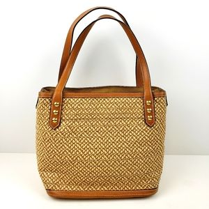 Eric Javits Straw Bag with Leather Trim